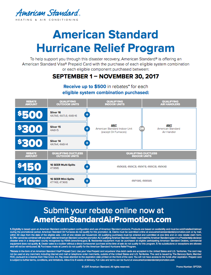American Standard Hurricane Relief Program- Rebates Available ...
